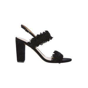 Banana Republic black fringe suede heels